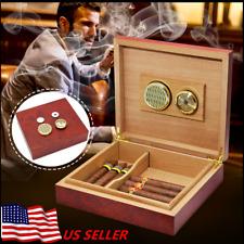 20-25 Cigar Humidor Humidifier Cedar Wooden Lined Storage Case Box Hygrometer US