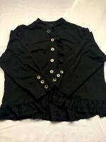 Cynthia Rowley Women's Black Jacket Coat Cotton Polyester Button Front Size 3XL