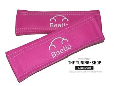 "2x SEAT BELT COVERS ARMREST PADS PINK LEATHER ""BEETLE"" EMBROIDERY FOR NEW BEETLE"
