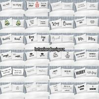 NEW White Pair of Novelty Printed Pillowcases Various Designs 50x75cm
