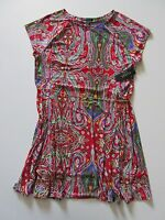 NWT LAUREN by Ralph Lauren Red Paisley Print Ballet Neck Chain Belt Dress 2X