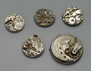 Vintage Watch Movements LOT Spares Repairs American Watch Co Buren Record Roamer
