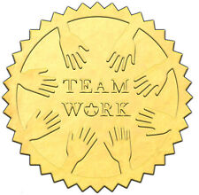 "Elegant GOLD embossed foil certificate seals ""TEAM WORK"" TM2 - 50 pack"