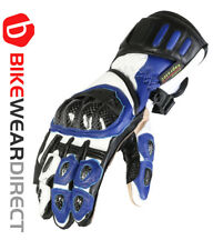 Large Blue Leather Motorcycle Motorbike Biker Gloves CE Armoured Vented Texpeed