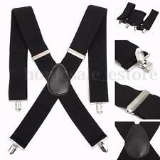 """2"""" 50mm Wide Mens X-Back X Shape Heavy Duty Trousers Black Brace Suspenders"""