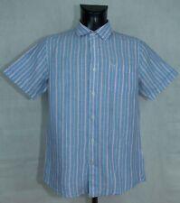 MENS CREW CLOTHING SHIRT LINEN COTTON SHORT SLEEVE  SIZE M VGC