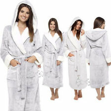 Ladies Super Soft Shimmer Fleece Robe,Plush Hooded Dressing Gown, 8-22, LN526B