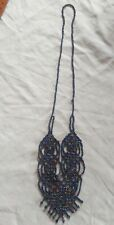 Necklace Beaded Black peacock carnival Art Deco Glass Seed Bead