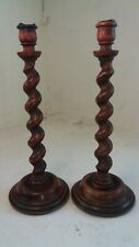 Tall Pair of Oak Barley Twist candlesticks , 14 inch , 35 cm