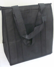INSULATED REUSABLE GROCERY BAG - SOLID BLACK - Thermal, Zipper, Shopping Tote