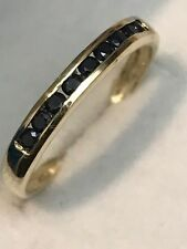 10K YELLOW GOLD .55 CARAT NATURAL SAPPHIRE BAND RING + RING BOX  SIZE 6.75