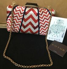 Kotur red white zig zag clutch chain strap hard case evening bag