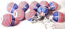 Silk Lanterns (10) Indoor Outdoor Use American Usa Flag + Lamps Replacements