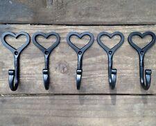 5 X ganci realizzati a mano cuore amore Shaker ferro battuto Appendiabiti Vintage Shabby Chic