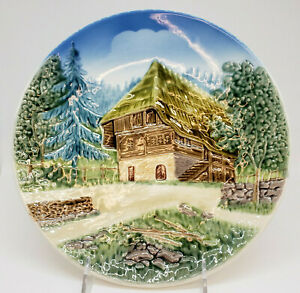 Porcelain Plate 3D Cabin in the Woods German Hand Painted