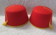 2 Red Felt Fez Hat