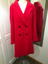 Red Double Breasted Coat Size 16 Warm For Autumn Winter Pockets