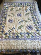 Patchwork Country Leaves, Flowers & Dragonfly Quilt with Scalloped Edges