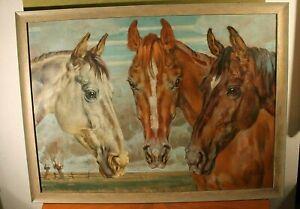 """Friedrich Eicke(Dortmund 1883-1975 Berlebeck/Lippe)""""Pferdköpfe""""Öl/Platte76x103cm"""