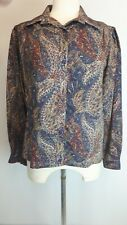 BNWT Vintage Retro LIBERTY Shirt Blouse Top Paisley Print Wool Buttons Sze 16 Hj