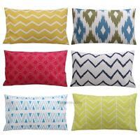 Geometric Vintage Flower Linen Cotton Pillow Case Cushion Cover Sofa 30 x 50cm