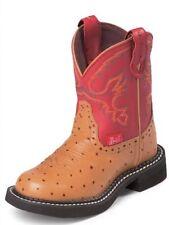 NEW! Justin Gypsy Girls Sz 11 Red/Cognac Ostrich Cowgirl Western Boots 9911C