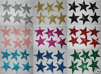 FABRIC GLITTER 2inch 50mm STARS IRON-ON HOTFIX T-SHIRT TRANSFER PATCH applique