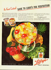 """1944 Vintage ad for LIBBY""""S Fruit Cocktail~Great Color/Fruit/Cherries/Grapes"""
