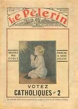 Belgique Guerre Scolaire Ecoles Libres Catholiques Elections 1936 ILLUSTRATION