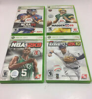Xbox 360 Game Lot - Madden NFL 09, NBA2k9, NCAA 08 FootBall, 2k Sports MLB 2K10