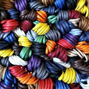 2/2.5 mm Round Waxed Cotton Shoe Laces - Lengths 45 cm to 120 cm