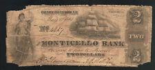 $2 Dollar 1861 Monticello Bank CHARLOTTESVILLE VA Obsolete Note Bill Paper Money