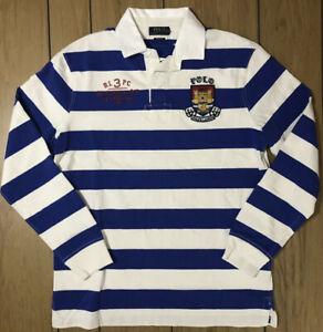 Ralph Lauren Polo RLPC 1st Division White Blue Striped Rugby Shirt Crest Men's L