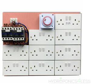 6/10 12/14 16/18 Way Contactor Board MDF 40a Grow Light Socket Timer Hydroponics