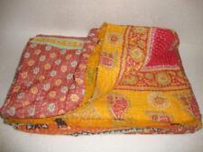 Queen Size Vintage Kantha Quilt Throw Blanket Bedspread Bohemian Bedding QM3425