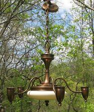 Vintage Art Deco Modern Glass Slip Shade Chandelier Hanging Light Lamp 1 Shade