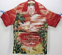 KAMEHAMEHA MEN VINTAGE XL RAYON OUTRIGGER PARADISE ALOHA HAWAIIAN SHIRT MADE USA