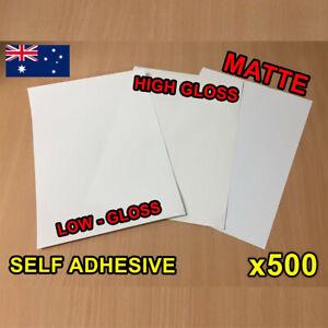 x500 Matte / Glossy A4 Self Adhesive Print Sticker Paper Sheet Laser Inkjet