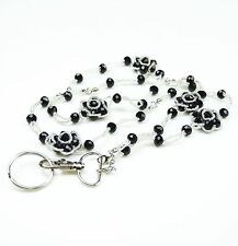 Braided Five Flowers Seed Beads Crystal Necklace LANYARD key chain