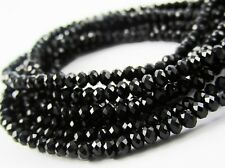 Glass Rondelle Faceted Black Loose Beads spacer 3mm 4mm 6mm 8mm 10mm 12mm 14mm
