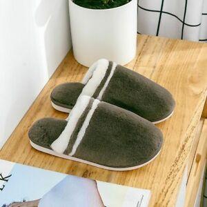 Winter Slippers Women Home Warm Fur Plush Striped Indoor Non-slip Cotton Shoes