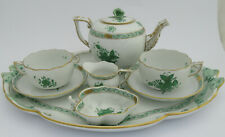 More details for herend green apponyi chinese bouquet cabaret set; tray, teapot, jug, bowl, cups