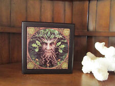 """TREE MAN"" ART TILE TRINKET JEWLERY ALTAR STASH BOX STEVE ROBERTS"