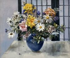 "Original Still Life Oil Painting By Judith Perrey ""Fresh Flowers"""