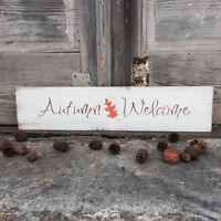 """Large Rustic Wood Sign - """"Autumn Welcome"""" Fall Decor, Autumn Leaves, Harvest"""