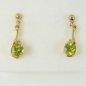 1.14 Carats Natural Peridot Gemstone dangle Earrings Genuine 375 9ct Yellow Gold