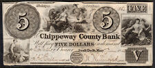 1848 US Obsolete Currency - Chippeway County Bank, MI - $5 Dollars*