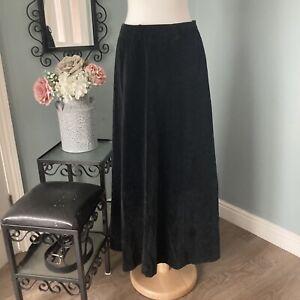 """Vintage Black Velvet Maxi Skirt Size 8 27"""" Waist Made in UK Full Length Long"""