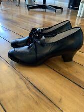 Vintage 30's 40's Deadstock Black Leather Box Wilbur Coon Oxford Brogue 7C Heels