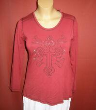 Twister: Lagenlook Shirt, A-Linie, rot/schwarz/silber, Glitzer Gr. 44 - 46 NEU